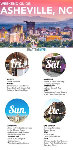 Asheville is a city bursting with independent spirit nestled in the beautiful mountains of North Carolina. Learn how to make the most of a weekend in Asheville. Ashville North Carolina, Ashville Nc, Oh The Places You'll Go, Places To Travel, Travel Destinations, Weekend Trips, Weekend Getaways, Just Dream, Week End