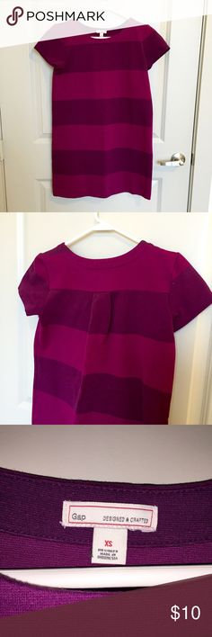 Casual, purple, two-tone striped Gap dress (XS) Super stretchy, comfy, relaxed Gap dress that's perfect for a casual date or fun weekend adventure. Gently-worn, non-flimsy fabric in great condition with a very flattering purple striped pattern. Machine washable and wrinkle resistant. GAP Dresses Mini