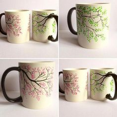 Hand painted porcelain mugs tree design either pink cherry blossom or green leaves. When ordering state preference Hand painted porcelain mugs tree design either pink China Painting, Ceramic Painting, Ceramic Art, Pottery Painting Designs, Pottery Designs, Tree Designs, Mug Designs, Mug Tree, Paint Your Own Pottery