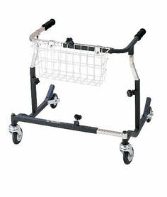 """Drive Medical PE 1000 XL Pediatric Anterior Safety Roller - Black by Drive Medical. $390.77. Applying pressure to the handlebar activates braking mechanism. When brake is engaged, the brake stopper hits the wheel and the wheels cannot roll. Ideal for patients with limited hand function and/or limited cognizance. The Safety Roller halts in step with the patient and the braking mechanism automatically engages when patient stumbles.Height adjustable in 1"""" increments.Adju... Mobility Aids, Aleta, Latex Free, Pediatrics, How To Apply, Medical, Personal Care, Steel, Color Black"""