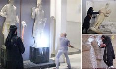 ISIS thugs take a hammer to civilisation: Priceless 3,000-year-old artworks smashed to pieces in minutes as militants destroy Mosul museum