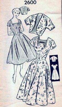Vintage 40s 50s Mail Order Dress & Bolero Jacket Pattern 2600 B28 10