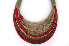 Red and Natural Statement Necklace by superlittlecute on Etsy, $55.00