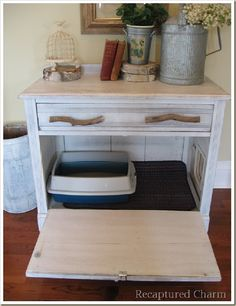 Hidden kitty litter box.  Just add cat door to the side and open the front when you need to clean!