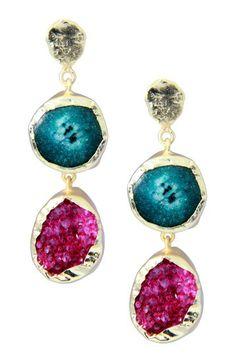 22K Gold Clad Green Agate Pink Druzy Double Drop Earrings by Saachi on @HauteLook
