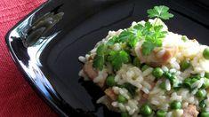Risoto de linguiça de frango, com ervilhas e salsa