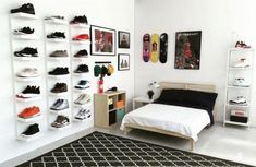 IKEA® and HYPEBEAST Design the Ideal Sneakerhead Bedroom is part of Ikea bedroom For Teens - Plenty of space to display your kicks, and even room for a bed Hypebeast Room, Hypebeast Sneakers, Shoe Room, Boys Room Design, Teenage Room, Teenage Boy Bedrooms, Awesome Bedrooms, Bedroom Apartment, Apartment Ideas