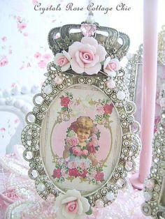 Victorian Porcelain Rose Frame with Vintage Girl Print