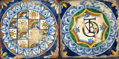 antique italian #majolica tiles, end of 1500  #maiolica