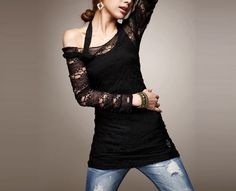 Long-sleeved Outer Lace Top And Black Tank