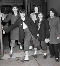 """Girls being sent home from school in 1946 for wearing """"dungarees"""" and """"slickers""""."""