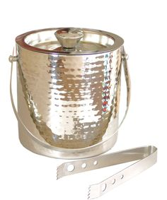 Hammered Ice Bucket with Tongs-perfect for my bar cart