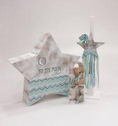 Πακέτο βάπτισης για αγόρι της Έλενας Μανάκου με κουτί με θέμα το αστέρι, με λαμπάδα βάπτισης και λαδοσέτ με πεπαλαιωμένο λευκό χρώμα ξύλου. Baby Crafts, Diy And Crafts, Vintage Baptism, I Love You, My Love, Baby Birthday, Christening, Birthdays, Moon
