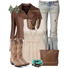 """""""Rustic - Antique Country Chic"""" by casuality on Polyvore - except with silver accents on the jewelry - I hate gold and never wear it"""