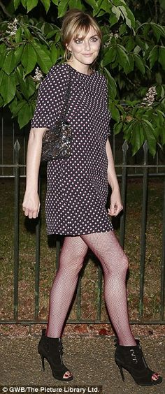 Natural beauty: Sophie Dahl opted for a polka dot dress, red fishnets and open-toed ankle boots