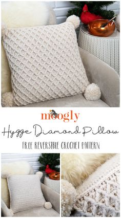 The Hygge Diamond Pillow features 2 gorgeous yarns, a ton of texture, and is just what you need to finish off that handmade vibe in your space! And it's a free crochet pillow pattern on Moogly! Make it with Red Heart Yarns Hygge and Hygge Charm! Bag Crochet, Crochet Stitches, Free Crochet, Crochet Patterns, Moogly Crochet, Crochet Blocks, Afghan Patterns, Square Patterns, Blanket Crochet