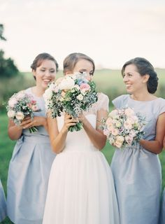 I am so beyond in love with these bridesmaid dresses! <3 The color, the cap sleeves, the high scoop necklines, natural waist, and length. So perfect! They are bound to wear these again!