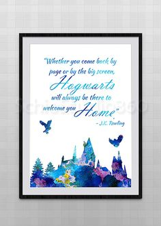 Hogwarts Castle From Harry Potter Watercolor Art by SchioStudio360