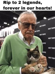 Stan Lee with Grumpy Cat. : aww< RIP Stan Lee and Grumpy Cat You will always be remembered! Ms Marvel, Marvel Comics, Meme Comics, Marvel Jokes, Marvel Funny, Marvel Avengers, Avengers Movies, Funny Avengers, Grumpy Cat Quotes