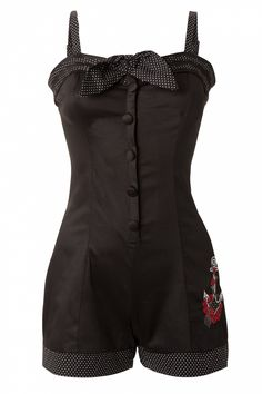 "Vixen 50s Anchors & Roses Black ""Playsuit"" (?)"