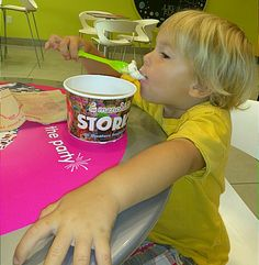 Eating frozen yogurt with Nana and t-haw