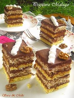 Malaga, Romanian Desserts, Different Cakes, Food Cakes, Sweet Cakes, Cheesecakes, Tiramisu, Waffles, Cake Recipes