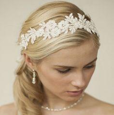Beaded Lace Applique Wedding Headband with Netting - Haar Ideen Wedding Headband, Bridal Headbands, Wedding Dress, Diy Headband, Wedding Veil, Boho Wedding, Floral Headbands, Lace Weddings, Garden Weddings