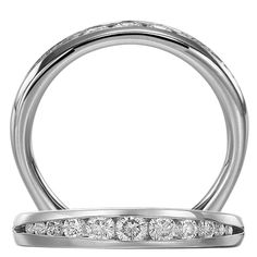 Royal Crown Collection™ wedding band featuring graduated round cut channel set diamonds within the solid euroshank.