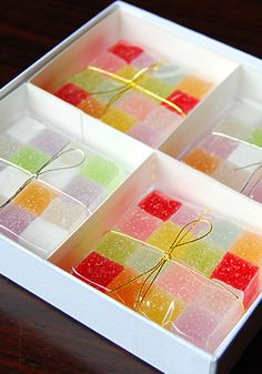 JAPANESE FRUIT JELLY CANDIES~ 4 tbsp unflavored gelatin, ⅔ cup strained fruit juice of your choice, 6 tbsp sugar, 4 tbsp corn syrup, food coloring if desired, superfine sugar.