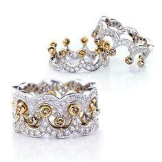 Classical SONA Diamond Crown Shape Ring Set For Women