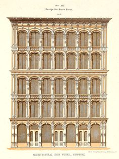 Design for a cast iron store front, New York City