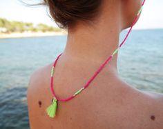 Seed Bead Sunglass Strap - Pink - The Boho Minimalist Beaded Jewelry, Beaded Necklace, Beaded Bracelets, Pink Eyeglasses, Anklets, Seed Beads, Boho, Chains, Tassel
