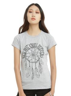 Red Hot Chili Peppers Dreamcatcher Logo Girls T-Shirt, HEATHER GREY