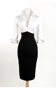 Pinup Girl Clothing- Lauren Dress in White and Black | Pinup Girl Clothing