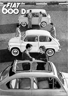 Fiat 600 D, 1961 – Łukasz Hodorowicz – Join in the world of pin Fiat 500 Pop, Fiat 126, Funny Vintage Ads, Vintage Cars, Vintage Advertisements, Classic Motors, Classic Cars, Vespa Bike, Automobile