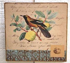 Tableau oiseau 1 bois-decoration de charme-deco oiseaux