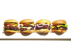 From left to right: The Hatch Chile Burger, The 10 p.m. Burger, Lamb Burger With...