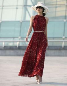 Elegant Keyhole Neckline Polka Dot Sleeveless Chiffon Women's Maxi Dress With BeltMaxi Dresses | RoseGal.com