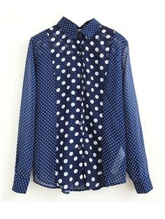 Elegant Peter Pan Collar Women Polka Dot Blouse Blue