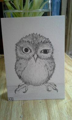 "Skeptical Owl Pencil Sketch 2.5""x 3.5"" Illustration Board Artist Trading Card"