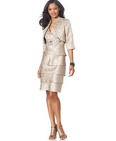 R Richards Dress And Jacket Tiered Skirt Evening Womens Mother Of The Bride