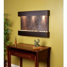 Displayed image is Reflection Creek Wall Fountain in Blackened Copper Finish with Green Natural Slate Feature. Adagio Reflection Creek Collection is the smallest vertical model that offers the tranquility of water fountain in motion, falling over beautifu Indoor Wall Fountains, Indoor Fountain, Water Fountains, Fountain Ideas, Water Wall Fountain, Tabletop Water Fountain, Indoor Waterfall, Wall Waterfall, Indoor Water Features