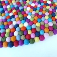 Felt Ball Rug 90-100cm in diameter. Made in Nepal. 100% wool.