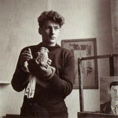 A young Lucian Freud in his studio (photographer unknown)