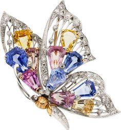 Sapphire, Diamond, Enamel, Platinum, and Gold Brooch, Oscar Heyman Bros.