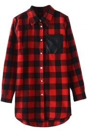 Casual Plaid Print Contrast Pocket Button Down Shirt