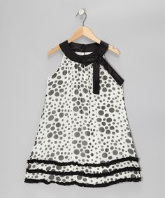 Take a look at this Black & White Polka Dot Ruffle Yoke Dress - Girls by Rare Editions on #zulily today!