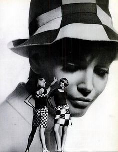 Red and white check felt hat by Paraphernalia, model on left in cotton checks by Crazy Horse and model on right in navy and white leather by Albert Alfus, photo by Howell Conant, 1966 | by skorver1