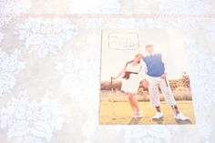 """Fun golf themed """"save the date""""- Front.  We are almost certain we are doing a golf themed engagement photo shoot so something like this would be perfect!"""