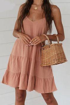 Spaghetti Strap Pleated V-Neck Mini Sundress – Simple Craze Elegant Party Dresses, Cute Dresses, Short Dresses, Summer Dresses, Vacation Dresses, Mini Dresses, Summer Clothes, Summer Outfits, Top Mini